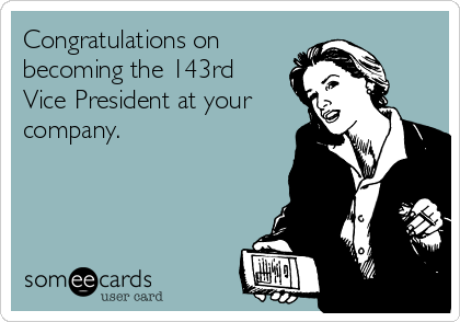 Congratulations on becoming the 143rd Vice President at your company.