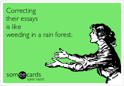 Correcting  their essays is like  weeding in a rain forest.