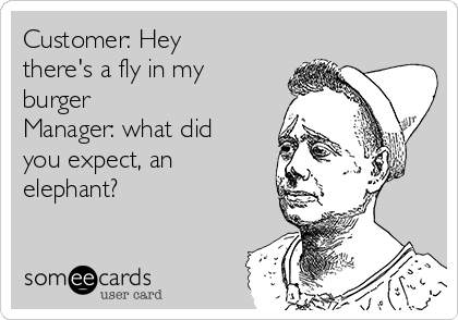 Customer: Hey there's a fly in my burger Manager: what did you expect, an elephant?