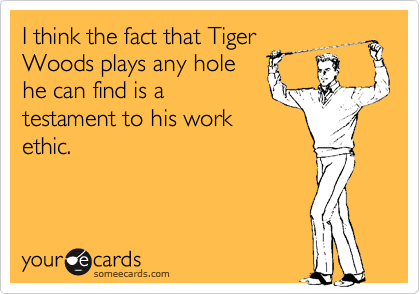 I think the fact that Tiger Woods plays any hole he can find is a testament to his work ethic.