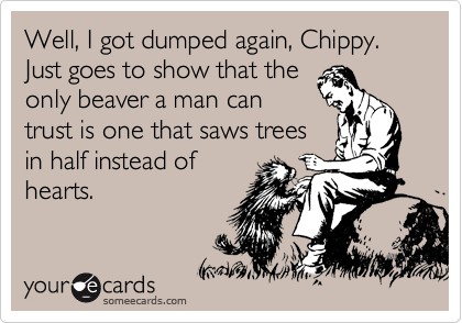 Well, I got dumped again, Chippy.  Just goes to show that the only beaver a man can trust is one that saws trees in half instead of hearts.