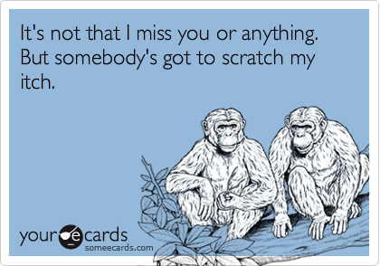 It's not that I miss you or anything.  But somebody's got to scratch my itch.