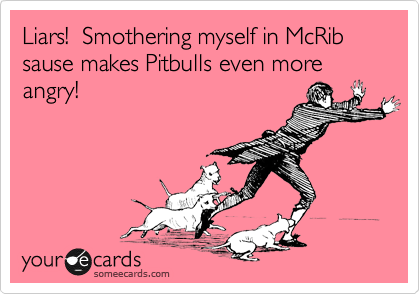 Liars!  Smothering myself in McRib sause makes Pitbulls even more angry!