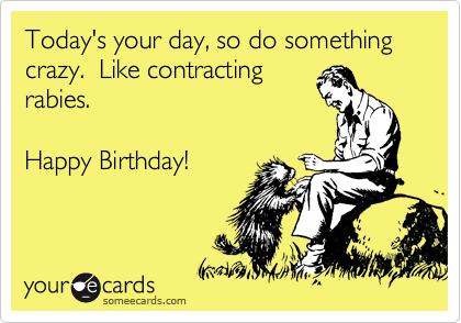 Todays your day so do something crazy like contracting rabies todays your day so do something crazy like contracting rabies happy birthday bookmarktalkfo Choice Image