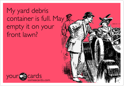 My yard debriscontainer is full. May Iempty it on yourfront lawn?