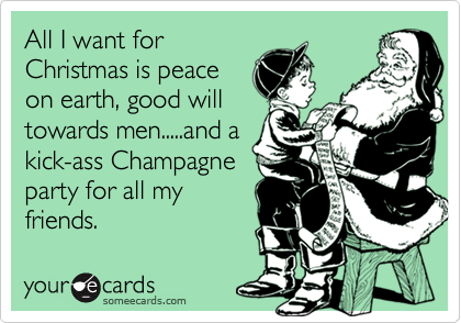 all i want for christmas is peace on earth good will towards men