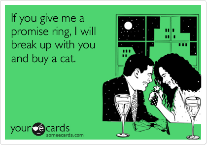 If you give me a promise ring, I will break up with you and buy a cat.