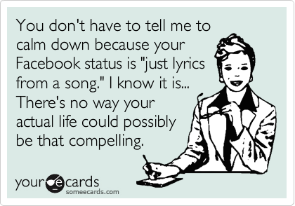 "You don't have to tell me to calm down because your Facebook status is ""just lyrics from a song."" I know it is... There's no way your actual life could possibly be that compelling."