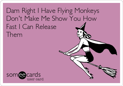 Dam Right I Have Flying Monkeys Don't Make Me Show You How Fast I Can Release  Them