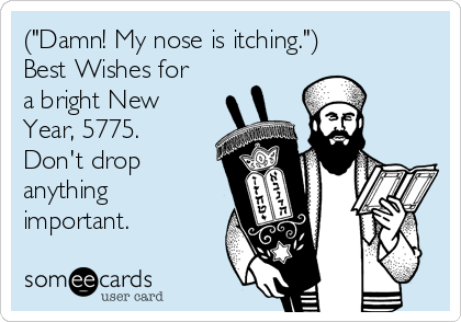 "(""Damn! My nose is itching."") Best Wishes for a bright New Year, 5775. Don't drop anything important."
