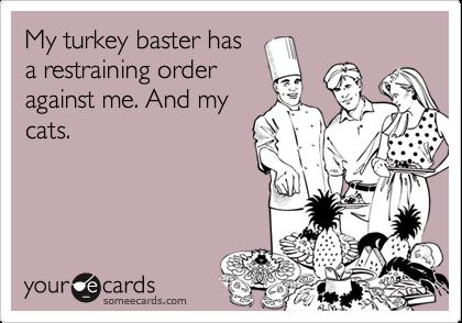 My turkey baster hasa restraining orderagainst me. And mycats.