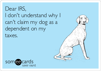 Dear IRS, I don't understand why I can't claim my dog as a dependent on my taxes.