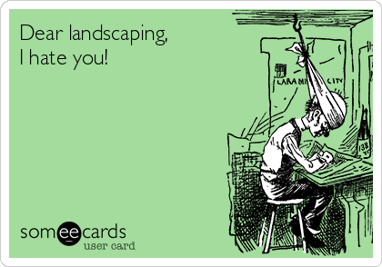 Dear landscaping, I hate you!