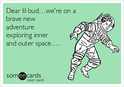Dear lil bud…we're on a brave new adventure exploring inner and outer space….