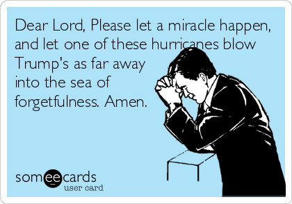 Dear Lord, Please let a miracle happen, and let one of these hurricanes blow Trump's as far away into the sea of forgetfulness. Amen.