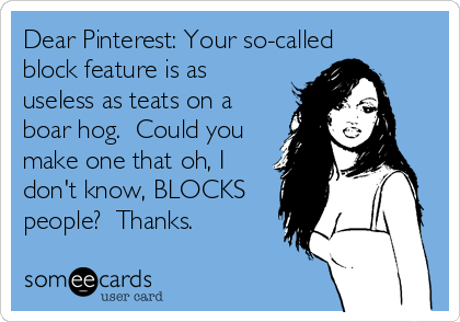 Dear Pinterest: Your so-called block feature is as useless as teats on a boar hog.  Could you make one that oh, I don't know, BLOCKS people?  Thanks.