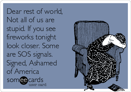 Dear rest of world, Not all of us are stupid. If you see fireworks tonight look closer. Some are SOS signals. Signed, Ashamed of America