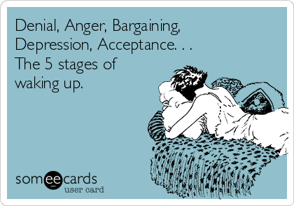 Denial, Anger, Bargaining, Depression, Acceptance. . . The 5 stages of waking up.