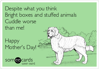 Despite what you think Bright boxes and stuffed animals  Cuddle worse than me!  Happy Mother's Day!