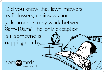 Did you know that lawn mowers, leaf blowers, chainsaws and jackhammers only work between 8am-10am? The only exception is if someone is napping nearby.