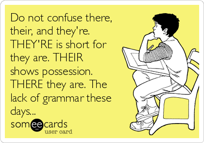 Do not confuse there, their, and they're. THEY'RE is short for they are. THEIR shows possession. THERE they are. The lack of grammar these days...