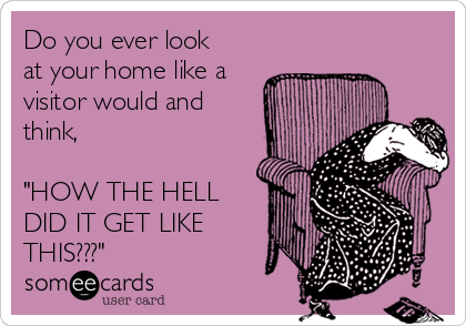 """Do you ever look at your home like a visitor would and think,  """"HOW THE HELL DID IT GET LIKE THIS???"""""""