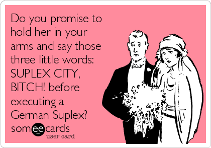 Do you promise to hold her in your arms and say those three little words: SUPLEX CITY, BITCH! before executing a German Suplex?