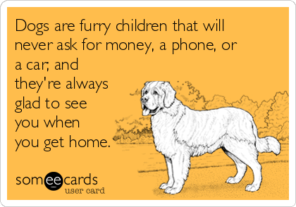 Dogs are furry children that will never ask for money, a phone, or a car; and they're always glad to see you when you get home.