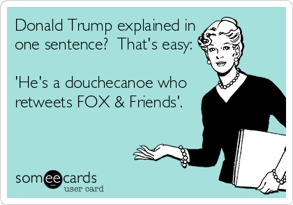 Donald Trump explained in one sentence?  That's easy:  'He's a douchecanoe who retweets FOX & Friends'.