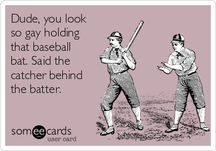 Dude, you look so gay holding that baseball bat. Said the  catcher behind the batter.