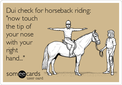 """Dui check for horseback riding: """"now touch the tip of your nose with your right hand..."""""""