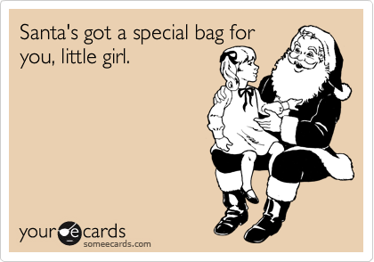 Santa's got a special bag for you, little girl.