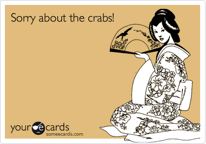 Sorry about the crabs!