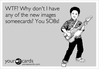 WTF? Why don't I haveany of the new imagessomeecards? You SOBs!
