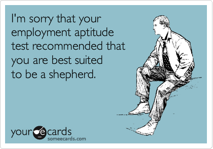 I'm sorry that your  employment aptitude  test recommended that you are best suited  to be a shepherd.