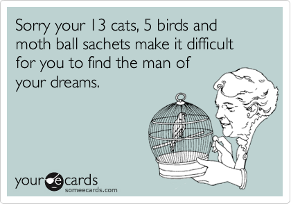 Sorry your 13 cats, 5 birds and moth ball sachets make it difficult for you to find the man ofyour dreams.
