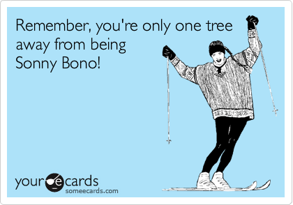 Remember, you're only one treeaway from beingSonny Bono!