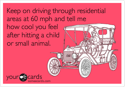 Keep on driving through residential areas at 60 mph and tell me how cool you feelafter hitting a childor small animal.