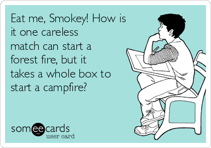 Eat me, Smokey! How is it one careless match can start a forest fire, but it takes a whole box to start a campfire?