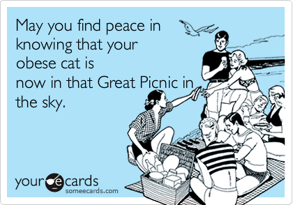 May you find peace inknowing that yourobese cat isnow in that Great Picnic inthe sky.