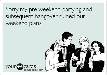 Sorry my pre-weekend partying and subsequent hangover ruined our weekend plans
