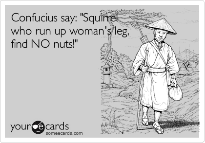 "Confucius say: ""Squirrel
