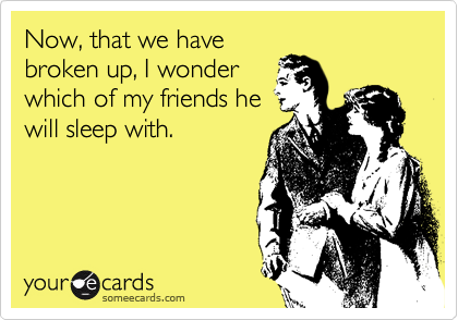 Now, that we have broken up, I wonder which of my friends he will sleep with.