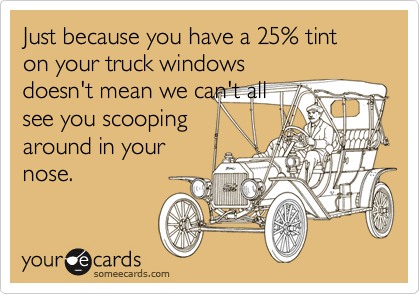 Just because you have a 25% tint on your truck windowsdoesn't mean we can't allsee you scoopingaround in yournose.