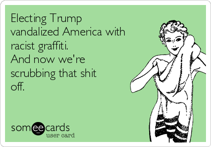 Electing Trump vandalized America with racist graffiti. And now we're scrubbing that shit off.