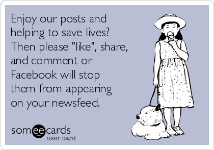 """Enjoy our posts and helping to save lives? Then please """"like"""", share, and comment or Facebook will stop them from appearing on your newsfeed."""
