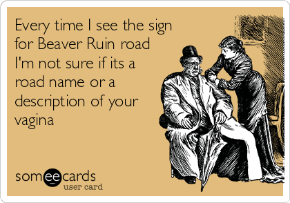 Every time I see the sign for Beaver Ruin road I'm not sure if its a road name or a description of your vagina