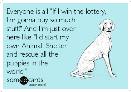 "Everyone is all ""If I win the lottery, I'm gonna buy so much stuff!"" And I'm just over here like ""I'd start my own Animal  Shelter and rescue all the puppies in the world!"""