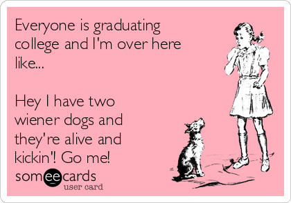 Everyone is graduating college and I'm over here like...   Hey I have two wiener dogs and they're alive and kickin'! Go me!