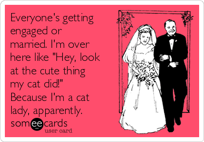 """Everyone's getting engaged or married. I'm over here like """"Hey, look at the cute thing my cat did!""""  Because I'm a cat lady, apparently."""